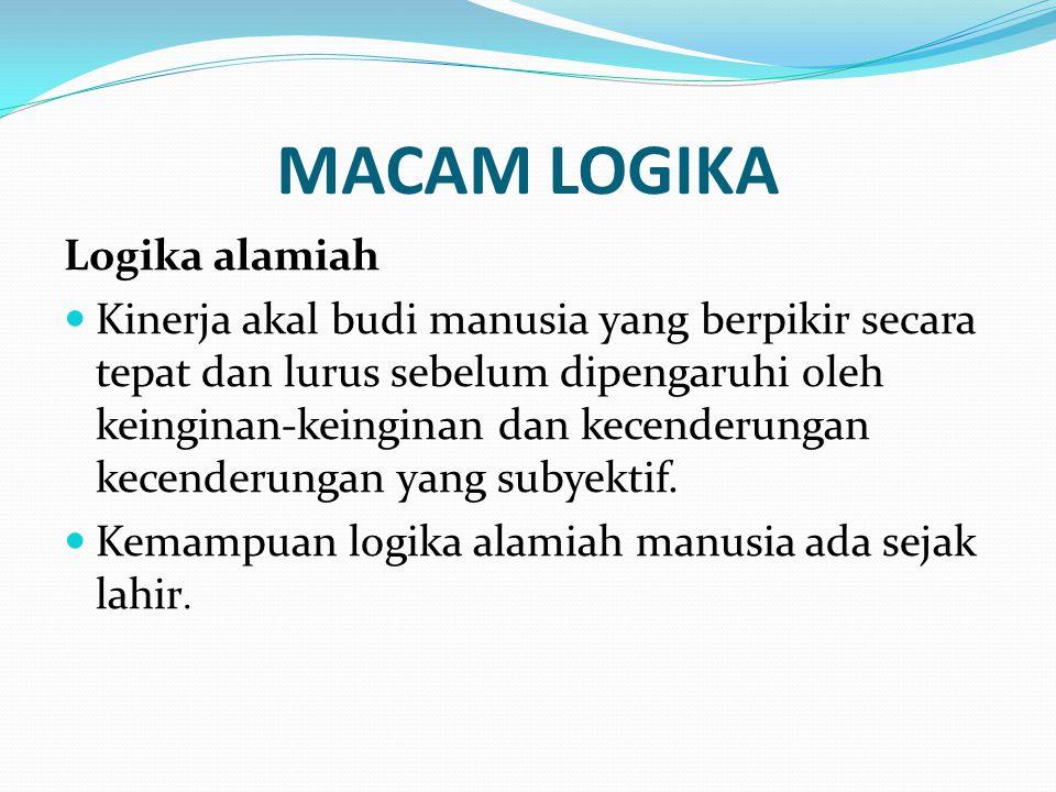 MACAM LOGIKA (2) Logika ilmiah Logika ilmiah memperhalus, mempertajam pikiran serta akal budi.