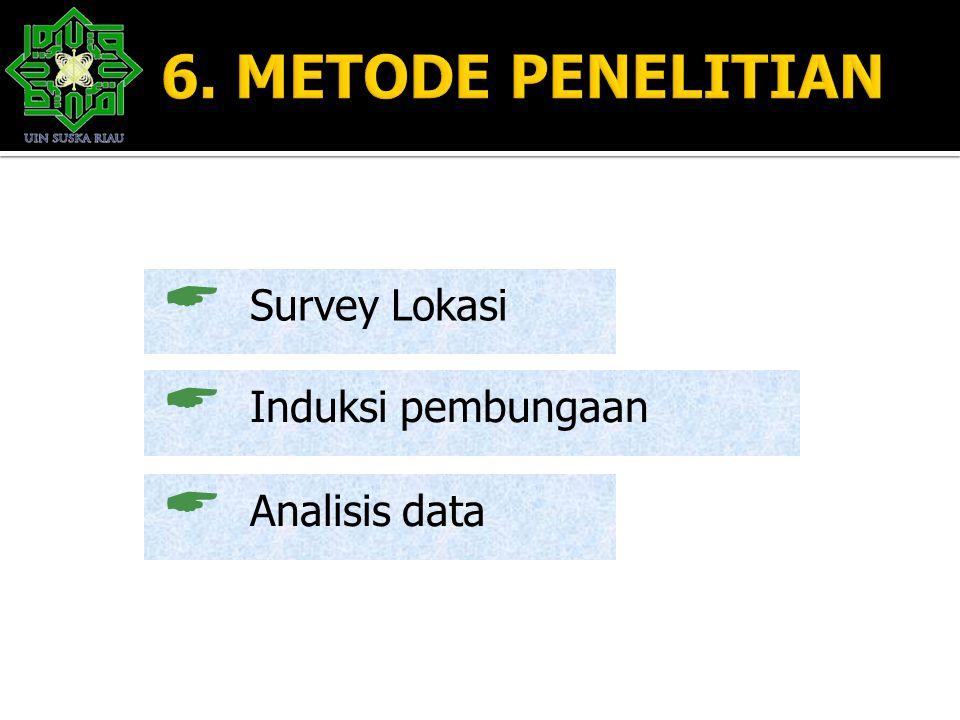  Survey Lokasi  Induksi pembungaan  Analisis data