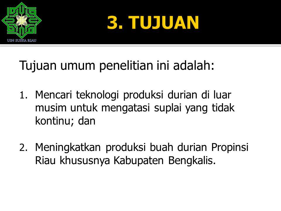 Tujuan umum penelitian ini adalah: 1. Mencari teknologi produksi durian di luar musim untuk mengatasi suplai yang tidak kontinu; dan 2. Meningkatkan p