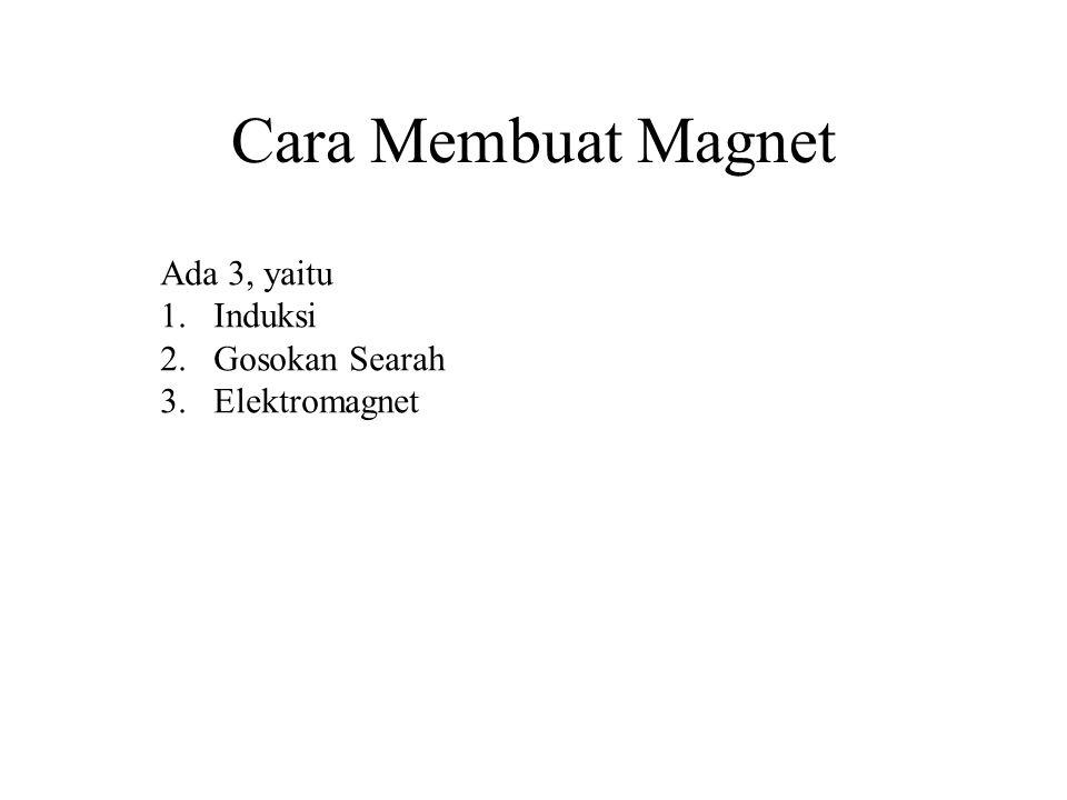 Cara Membuat Magnet Ada 3, yaitu 1.Induksi 2.Gosokan Searah 3.Elektromagnet