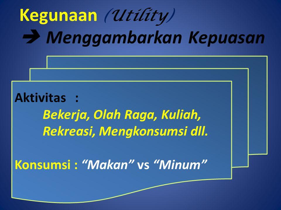 """Kegunaan (Utility)  Menggambarkan Kepuasan Aktivitas : Bekerja, Olah Raga, Kuliah, Rekreasi, Mengkonsumsi dll. Konsumsi : """"Makan"""" vs """"Minum"""""""