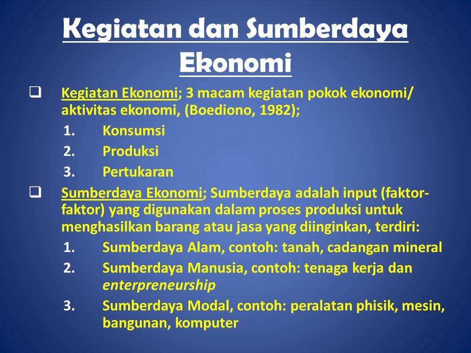 Kegiatan dan Sumberdaya Ekonomi  Kegiatan Ekonomi; 3 macam kegiatan pokok ekonomi/ aktivitas ekonomi, (Boediono, 1982); 1.Konsumsi 2.Produksi 3.Pertu