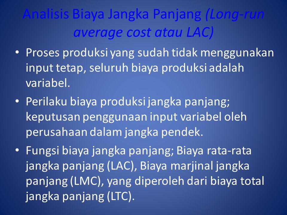 Analisis Biaya Jangka Panjang (Long-run average cost atau LAC) Proses produksi yang sudah tidak menggunakan input tetap, seluruh biaya produksi adalah variabel.