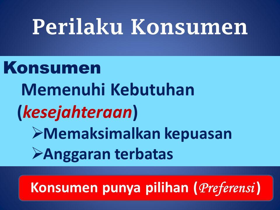 Perilaku Konsumen Konsumen Memenuhi Kebutuhan (kesejahteraan)  Memaksimalkan kepuasan  Anggaran terbatas Konsumen punya pilihan ( Preferensi )