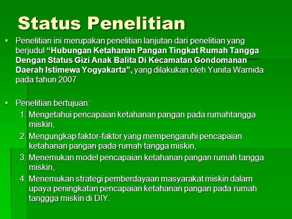 Status Penelitian  Penelitian ini merupakan penelitian lanjutan dari penelitian yang berjudul Hubungan Ketahanan Pangan Tingkat Rumah Tangga Dengan Status Gizi Anak Balita Di Kecamatan Gondomanan Daerah Istimewa Yogyakarta , yang dilakukan oleh Yunita Warnida pada tahun 2007  Penelitian bertujuan: 1.