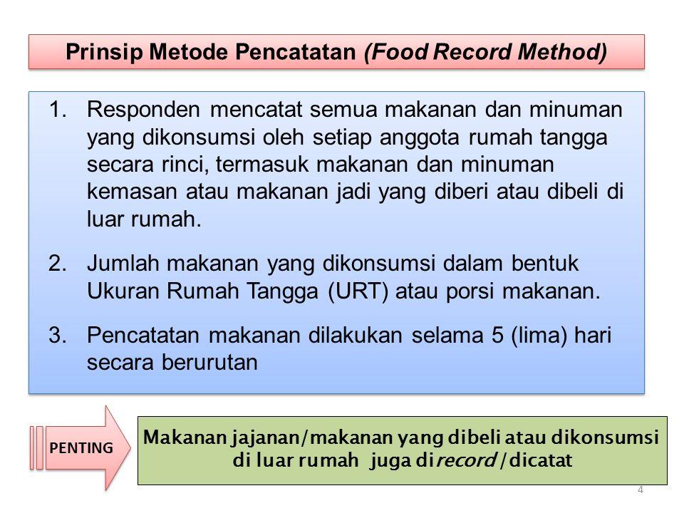 1.Responden mencatat semua makanan dan minuman yang dikonsumsi oleh setiap anggota rumah tangga secara rinci, termasuk makanan dan minuman kemasan ata