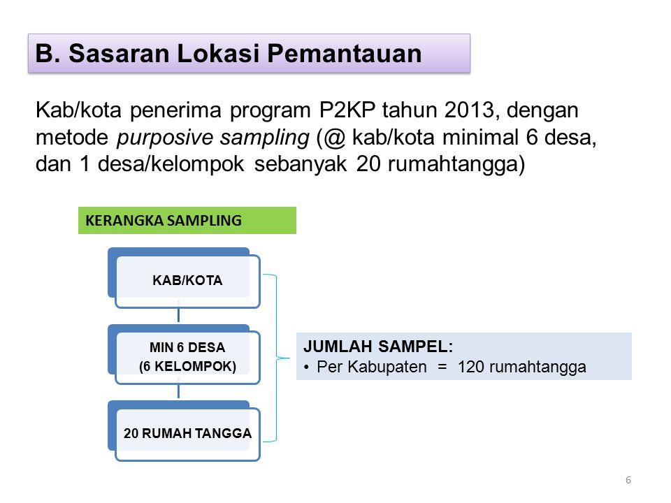 Kab/kota penerima program P2KP tahun 2013, dengan metode purposive sampling (@ kab/kota minimal 6 desa, dan 1 desa/kelompok sebanyak 20 rumahtangga) KERANGKA SAMPLING KAB/KOTA MIN 6 DESA (6 KELOMPOK) 20 RUMAH TANGGA JUMLAH SAMPEL: Per Kabupaten = 120 rumahtangga B.