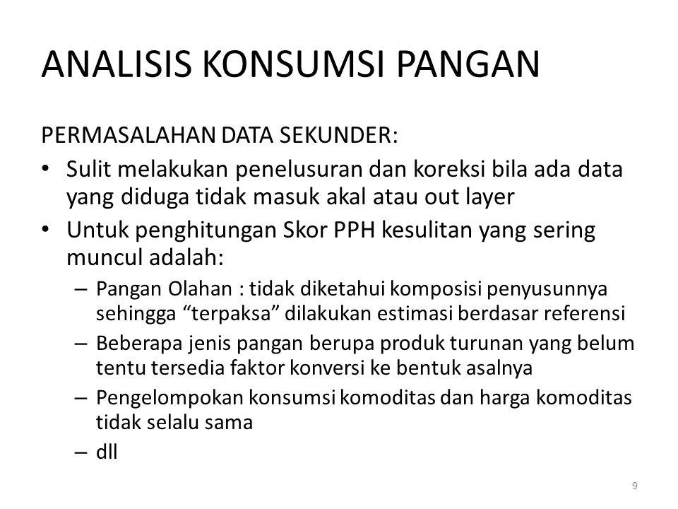 ANALISIS KONSUMSI PANGAN PERMASALAHAN DATA SEKUNDER: Sulit melakukan penelusuran dan koreksi bila ada data yang diduga tidak masuk akal atau out layer