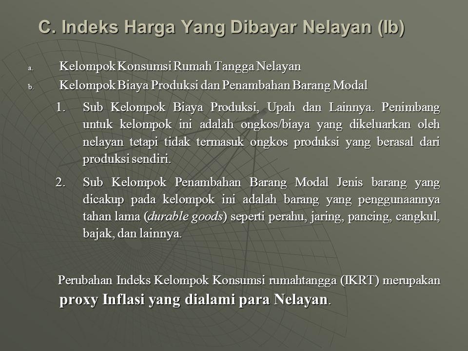 C.Indeks Harga Yang Dibayar Nelayan (Ib) a. Kelompok Konsumsi Rumah Tangga Nelayan b.