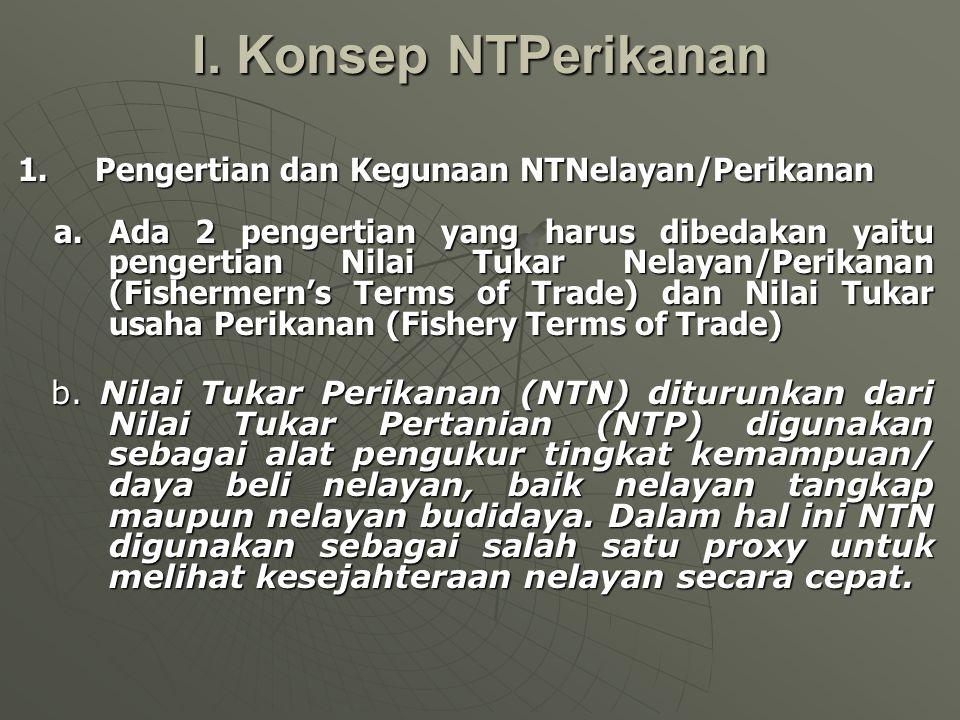 I.Konsep NTPerikanan 1. Pengertian dan Kegunaan NTNelayan/Perikanan a.