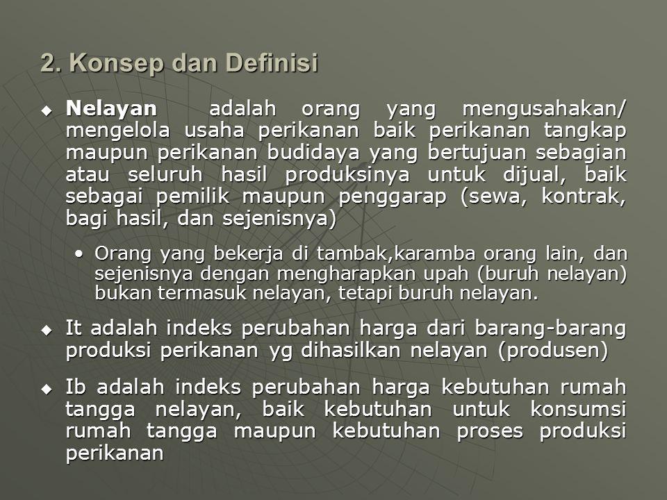 2. Konsep dan Definisi  Nelayan adalah orang yang mengusahakan/ mengelola usaha perikanan baik perikanan tangkap maupun perikanan budidaya yang bertu