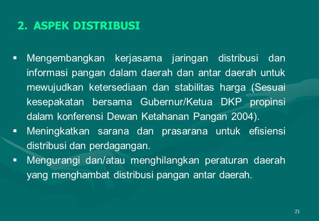 21 2.ASPEK DISTRIBUSI  Mengembangkan kerjasama jaringan distribusi dan informasi pangan dalam daerah dan antar daerah untuk mewujudkan ketersediaan dan stabilitas harga (Sesuai kesepakatan bersama Gubernur/Ketua DKP propinsi dalam konferensi Dewan Ketahanan Pangan 2004).