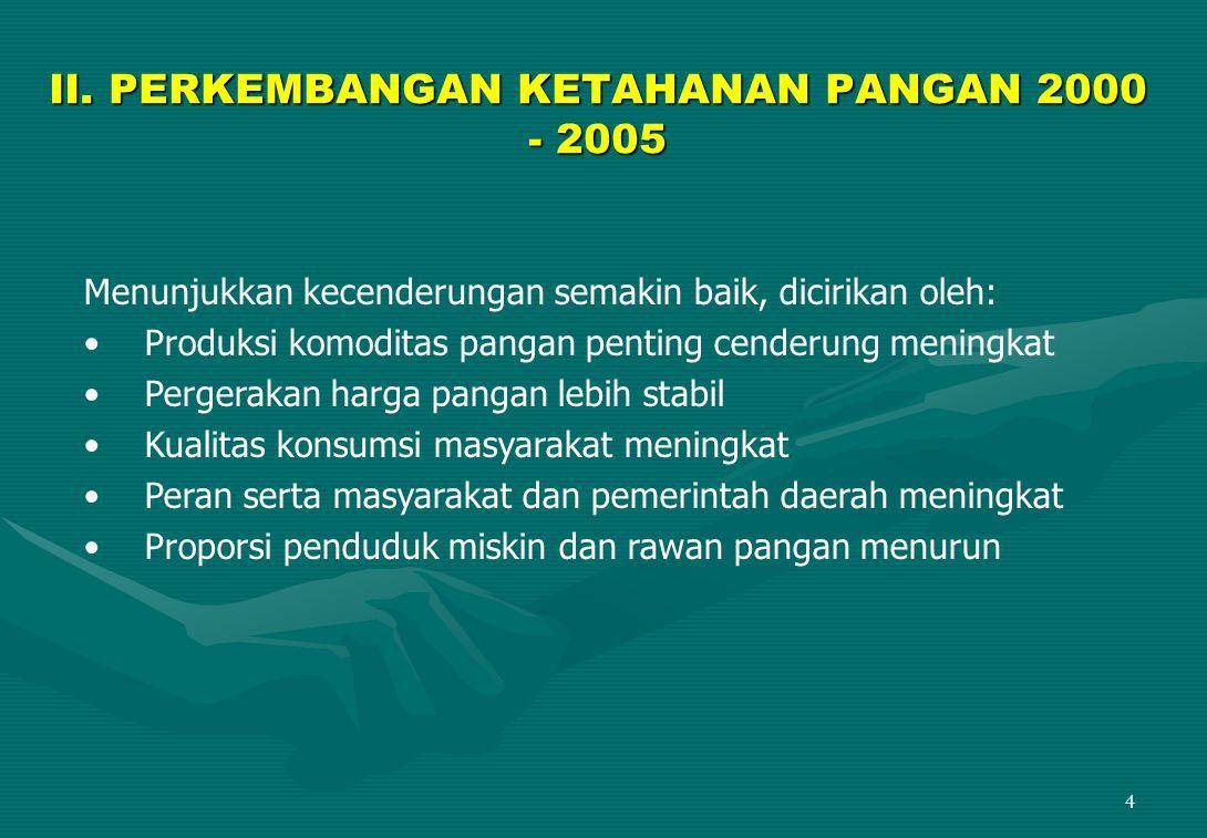 5  Penurunan rasio ketergantungan impor beras terkait dengan kebijakan perberasan nasional mulai tahun 2000, terutama menyangkut kebijakan perlindungan petani dalam negeri dari dampak negatif perdagangan bebas: Bea masuk Rp.