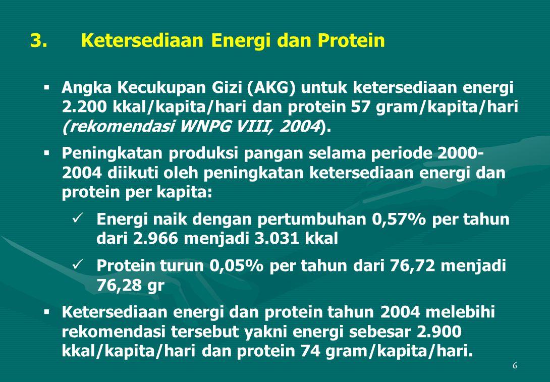 17 Indikator makro (nasional):   Meningkatnya kemandirian pangan melaui pencapaian swasembada beras berkelanjutan, swasembada jagung 2007, swasembada kedele 2015, swasembada gula 2009, dan swasembada daging sapi 2010, serta membatasi impor pangan utama < 10% kebutuhan pangan nasional.