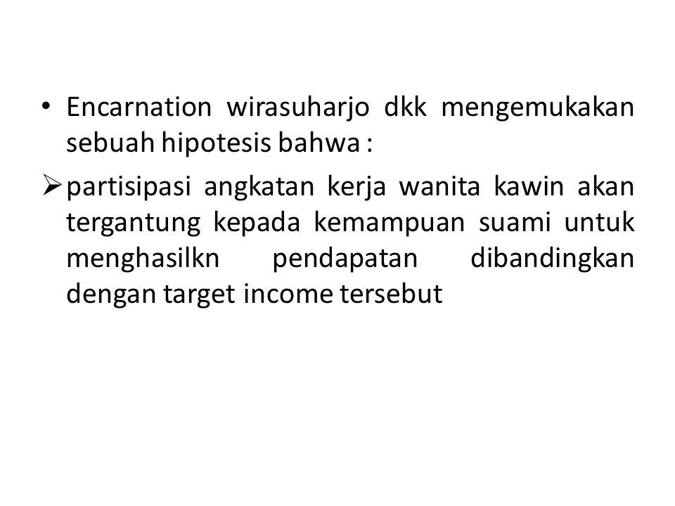 Encarnation wirasuharjo dkk mengemukakan sebuah hipotesis bahwa :  partisipasi angkatan kerja wanita kawin akan tergantung kepada kemampuan suami untuk menghasilkn pendapatan dibandingkan dengan target income tersebut