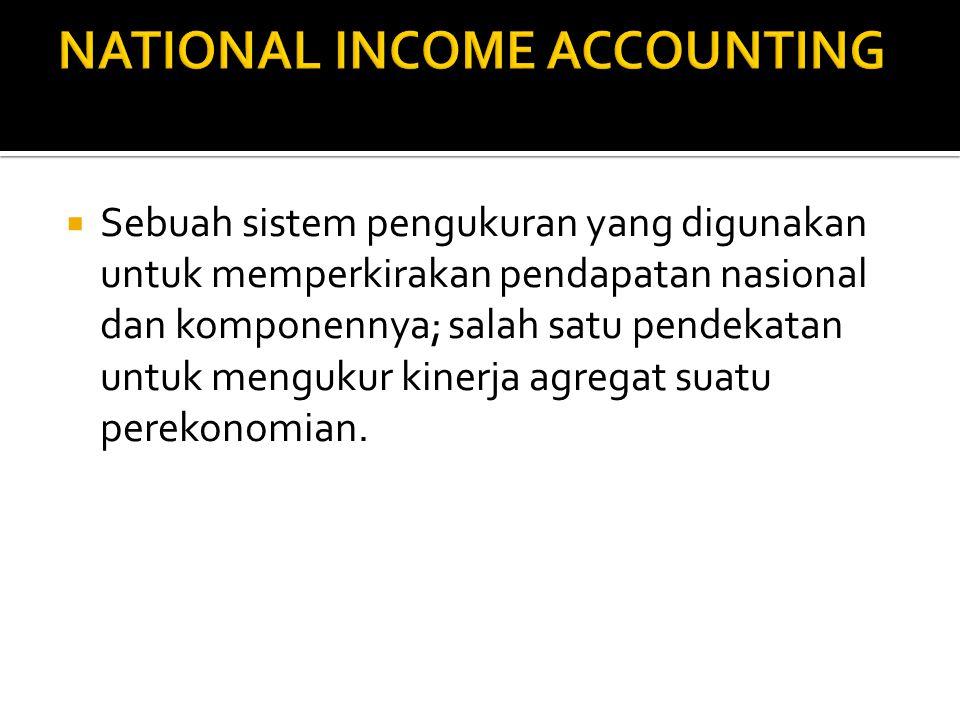  Sebuah sistem pengukuran yang digunakan untuk memperkirakan pendapatan nasional dan komponennya; salah satu pendekatan untuk mengukur kinerja agregat suatu perekonomian.