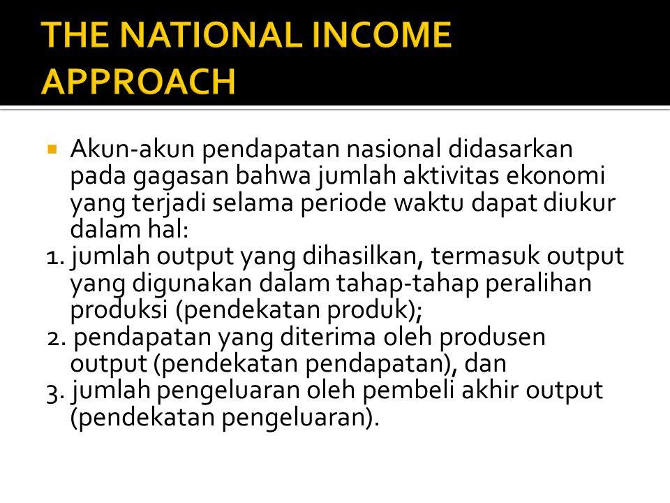  Akun-akun pendapatan nasional didasarkan pada gagasan bahwa jumlah aktivitas ekonomi yang terjadi selama periode waktu dapat diukur dalam hal: 1.