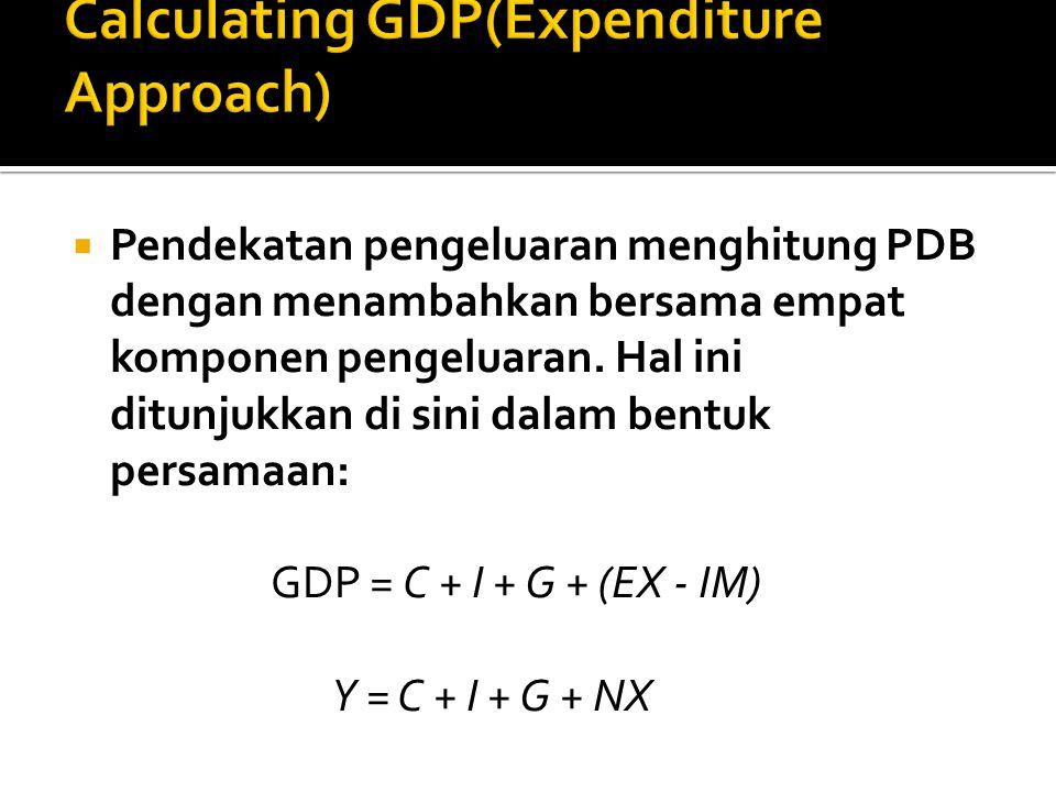  Pendekatan pengeluaran menghitung PDB dengan menambahkan bersama empat komponen pengeluaran. Hal ini ditunjukkan di sini dalam bentuk persamaan: GDP