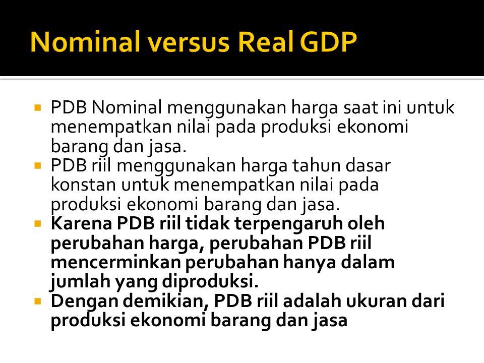  PDB Nominal menggunakan harga saat ini untuk menempatkan nilai pada produksi ekonomi barang dan jasa.  PDB riil menggunakan harga tahun dasar konst