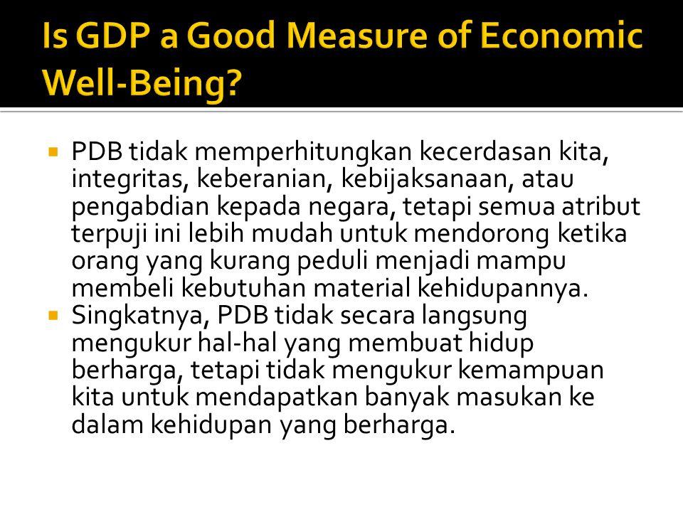  PDB tidak memperhitungkan kecerdasan kita, integritas, keberanian, kebijaksanaan, atau pengabdian kepada negara, tetapi semua atribut terpuji ini le