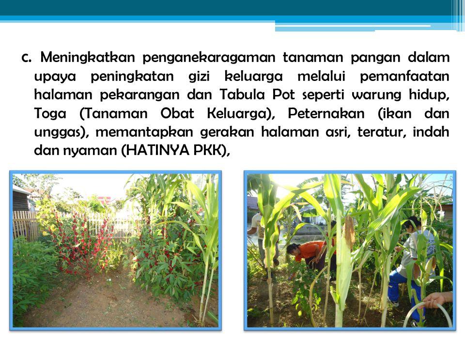 c. Meningkatkan penganekaragaman tanaman pangan dalam upaya peningkatan gizi keluarga melalui pemanfaatan halaman pekarangan dan Tabula Pot seperti wa