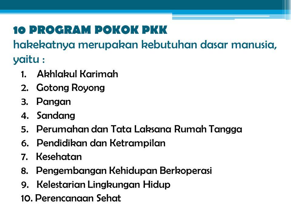 10 PROGRAM POKOK PKK hakekatnya merupakan kebutuhan dasar manusia, yaitu : 1. Akhlakul Karimah 2. Gotong Royong 3. Pangan 4. Sandang 5. Perumahan dan