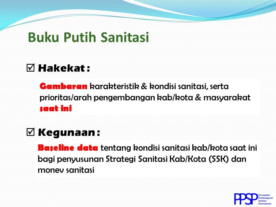 ? ? ? Buku Putih Sanitasi Baseline data tentang kondisi sanitasi kab/kota saat ini bagi penyusunan Strategi Sanitasi Kab/Kota (SSK) dan monev sanitasi