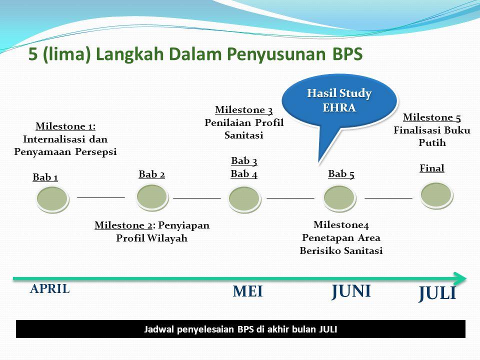 5 (lima) Langkah Dalam Penyusunan BPS Bab 2 Milestone 2: Penyiapan Profil Wilayah Milestone 3 Penilaian Profil Sanitasi Bab 3 Bab 4 Bab 5 Milestone4 P