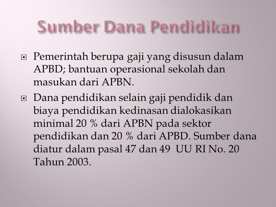  Pemerintah berupa gaji yang disusun dalam APBD; bantuan operasional sekolah dan masukan dari APBN.