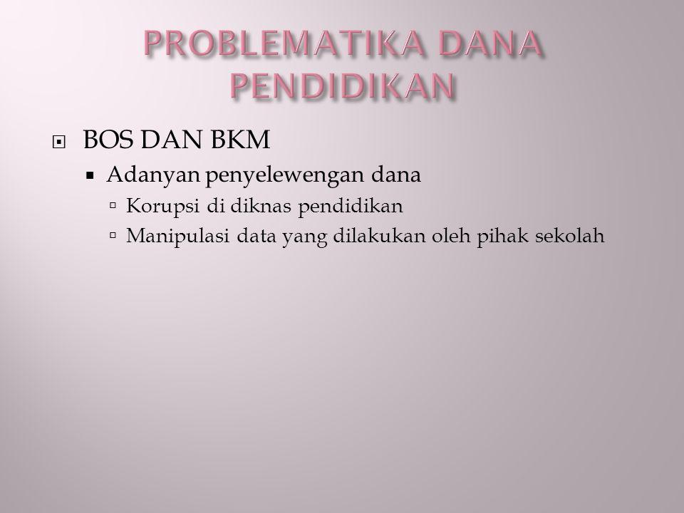 BOS DAN BKM  Adanyan penyelewengan dana  Korupsi di diknas pendidikan  Manipulasi data yang dilakukan oleh pihak sekolah