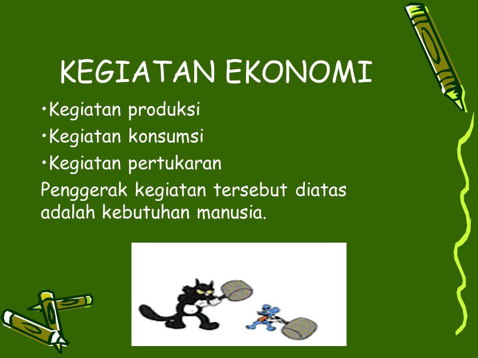 Sumber-sumber ekonomi Sumber-sumber alam Sumber ekonomi yang berupa manusia dan tenaganya Sumber-sumber ekonomi buatan manusia (capital) Kewirausahaan (entrepreneurship)