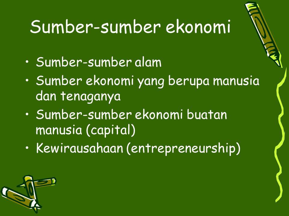 Sumber-sumber ekonomi Sumber-sumber alam Sumber ekonomi yang berupa manusia dan tenaganya Sumber-sumber ekonomi buatan manusia (capital) Kewirausahaan