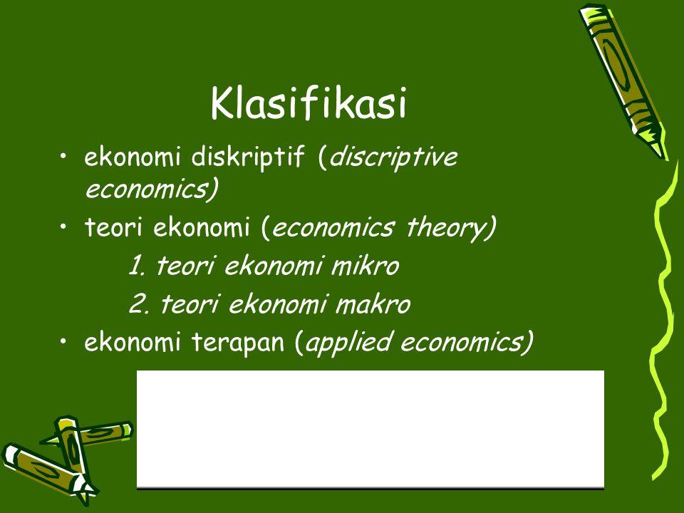 Klasifikasi ekonomi diskriptif (discriptive economics) teori ekonomi (economics theory) 1. teori ekonomi mikro 2. teori ekonomi makro ekonomi terapan