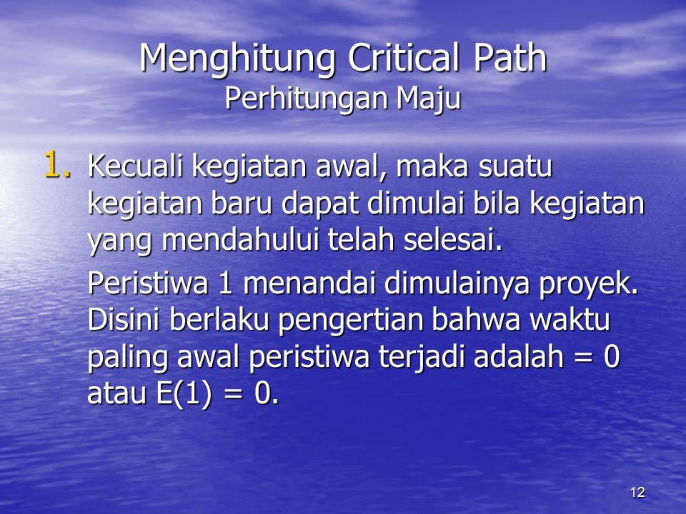 12 Menghitung Critical Path Perhitungan Maju 1. Kecuali kegiatan awal, maka suatu kegiatan baru dapat dimulai bila kegiatan yang mendahului telah sele
