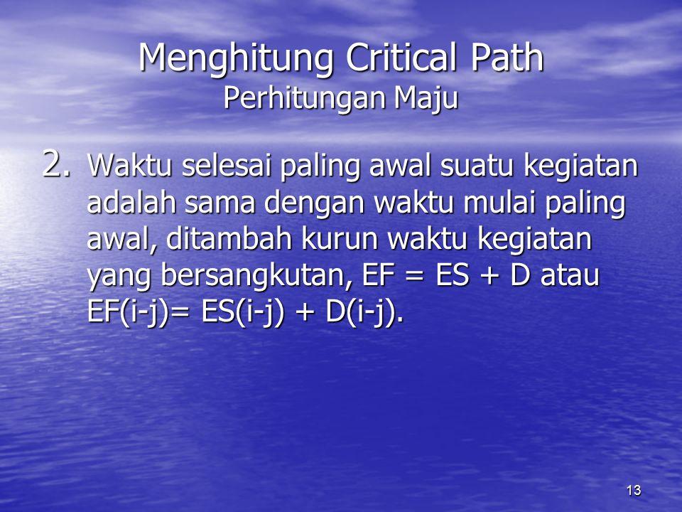 13 Menghitung Critical Path Perhitungan Maju 2. Waktu selesai paling awal suatu kegiatan adalah sama dengan waktu mulai paling awal, ditambah kurun wa