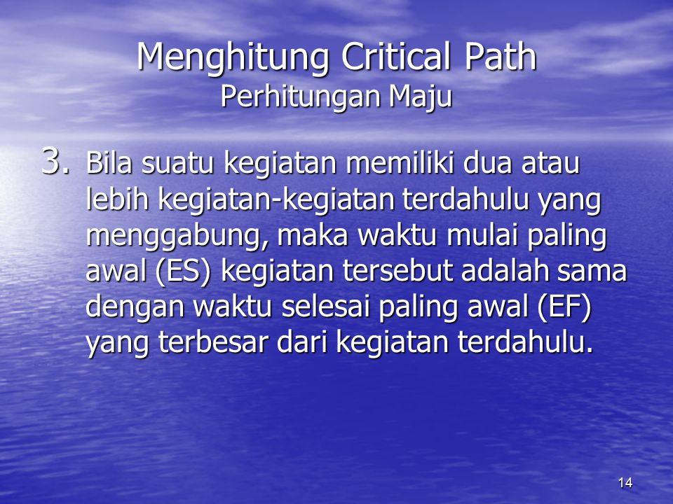 14 Menghitung Critical Path Perhitungan Maju 3. Bila suatu kegiatan memiliki dua atau lebih kegiatan-kegiatan terdahulu yang menggabung, maka waktu mu