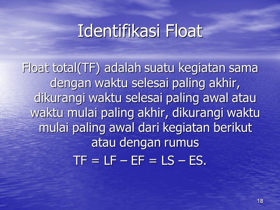 18 Identifikasi Float Float total(TF) adalah suatu kegiatan sama dengan waktu selesai paling akhir, dikurangi waktu selesai paling awal atau waktu mulai paling akhir, dikurangi waktu mulai paling awal dari kegiatan berikut atau dengan rumus TF = LF – EF = LS – ES.