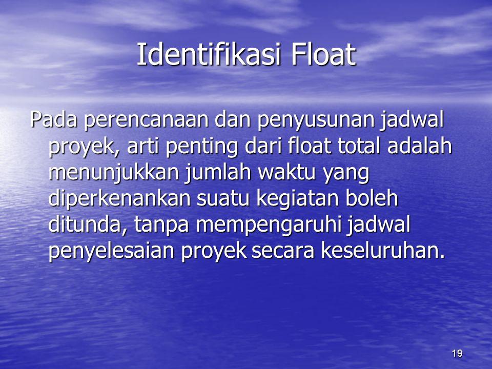 19 Identifikasi Float Pada perencanaan dan penyusunan jadwal proyek, arti penting dari float total adalah menunjukkan jumlah waktu yang diperkenankan