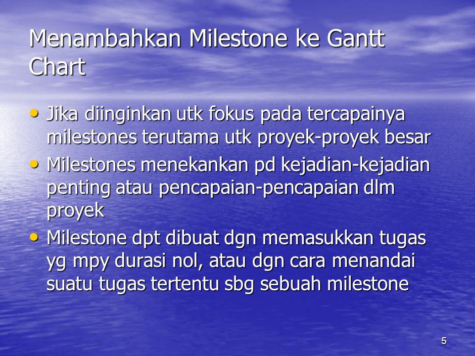 5 Menambahkan Milestone ke Gantt Chart Jika diinginkan utk fokus pada tercapainya milestones terutama utk proyek-proyek besar Jika diinginkan utk foku