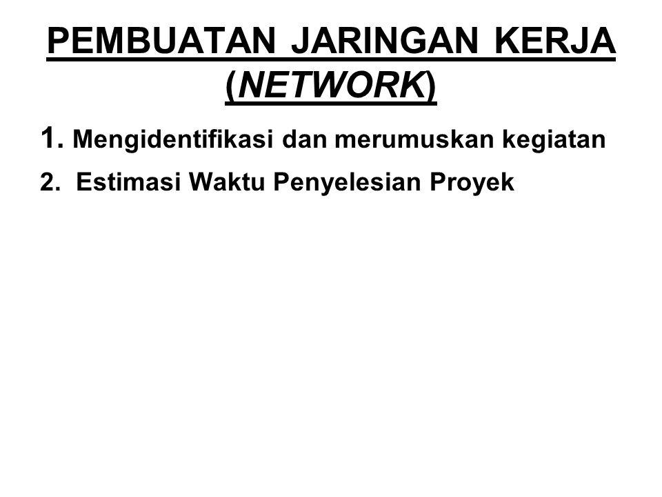 PEMBUATAN JARINGAN KERJA (NETWORK) 1. Mengidentifikasi dan merumuskan kegiatan 2. Estimasi Waktu Penyelesian Proyek