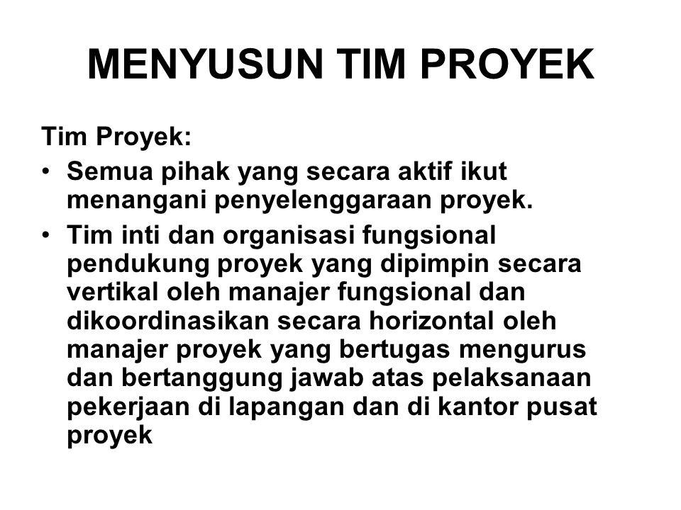 MENYUSUN TIM PROYEK Tim Proyek: Semua pihak yang secara aktif ikut menangani penyelenggaraan proyek. Tim inti dan organisasi fungsional pendukung proy