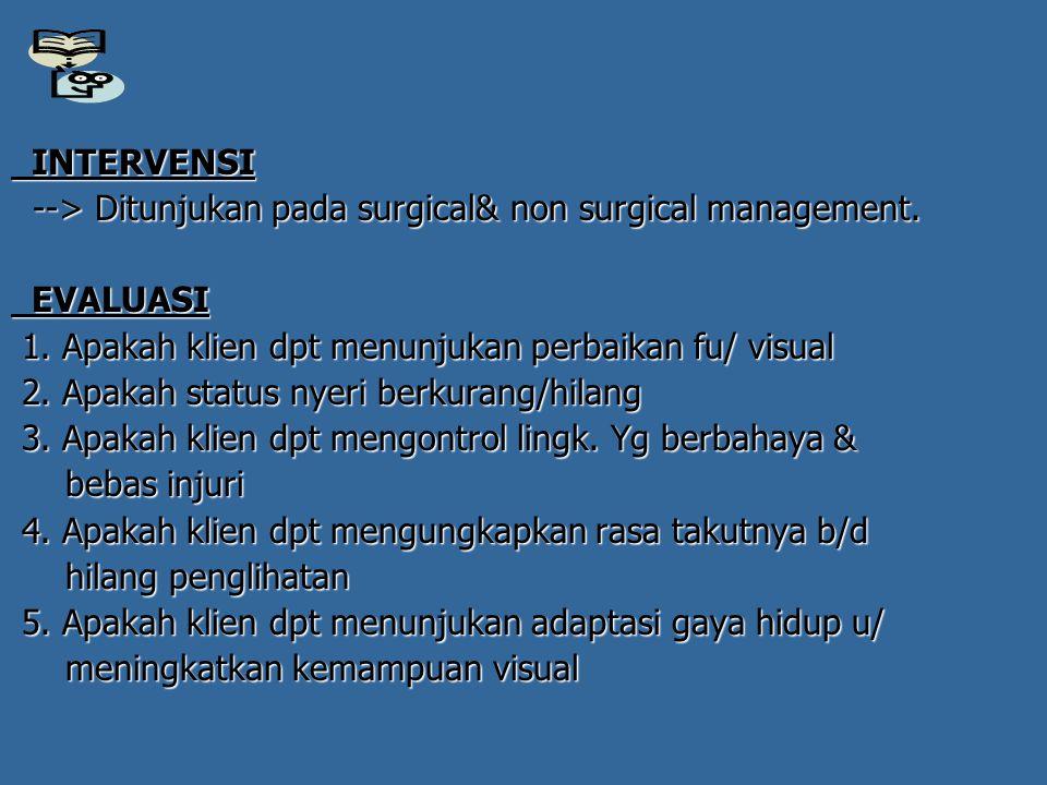 INTERVENSI INTERVENSI --> Ditunjukan pada surgical& non surgical management. --> Ditunjukan pada surgical& non surgical management. EVALUASI EVALUASI