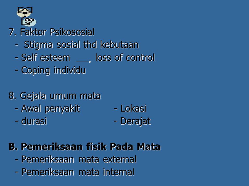 7. Faktor Psikososial 7. Faktor Psikososial - Stigma sosial thd kebutaan - Stigma sosial thd kebutaan - Self esteem loss of control - Self esteem loss
