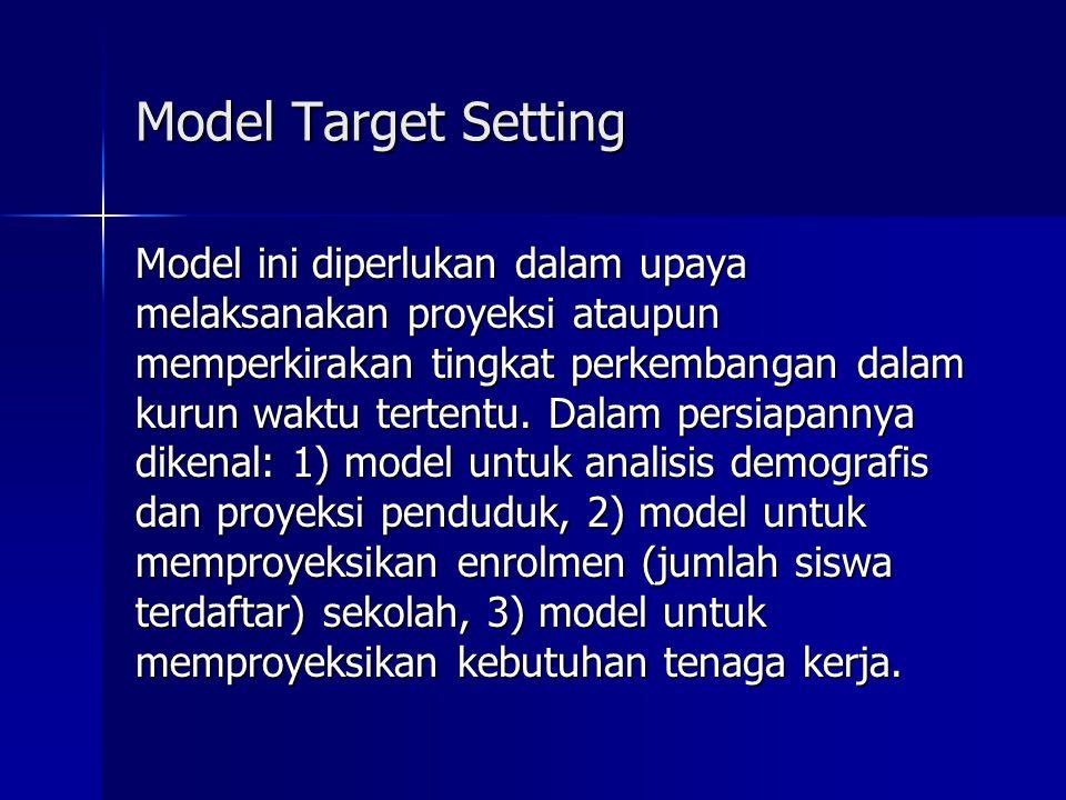Model Target Setting Model ini diperlukan dalam upaya melaksanakan proyeksi ataupun memperkirakan tingkat perkembangan dalam kurun waktu tertentu.