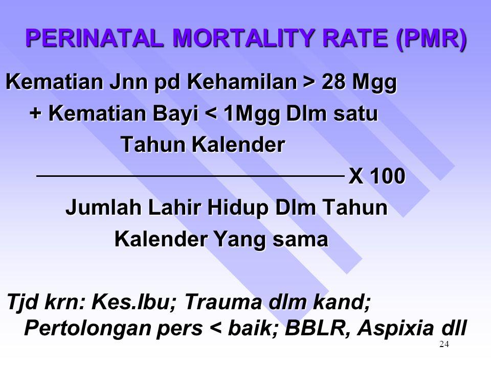 23 INFANT MORTALITY RATE (IMR) Jumlah Kematian Bayi Dibawah Umur 1 tahun dlm satu thn kalender X 100 Jumlah Lahir Hidup Dalam Tahun Kalender yang sama