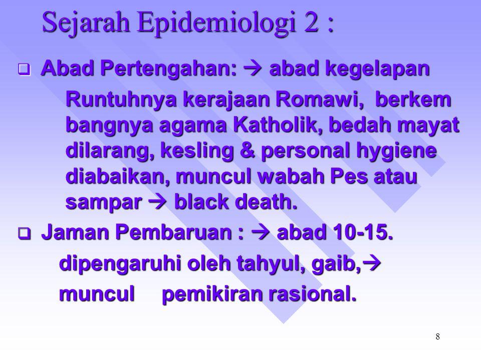 7 Sejarah Epidemiologi 1 :  Jaman Pra Sejarah: - Kedoteran primitif / Primitif Medicine pengobatan dg Medicine pengobatan dg menggunakan ramu-ramuan