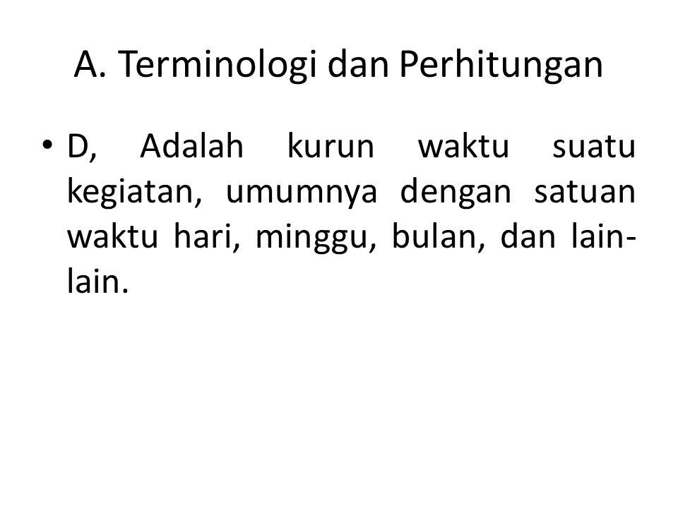 A. Terminologi dan Perhitungan D, Adalah kurun waktu suatu kegiatan, umumnya dengan satuan waktu hari, minggu, bulan, dan lain- lain.