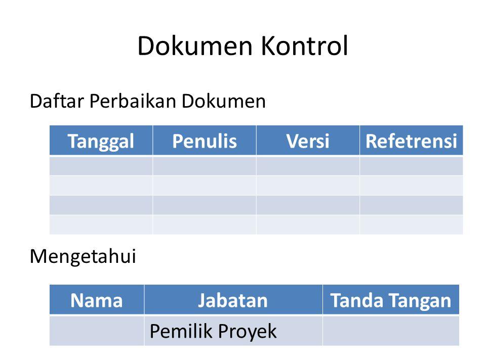 Dokumen Kontrol Daftar Perbaikan Dokumen Mengetahui TanggalPenulisVersiRefetrensi NamaJabatanTanda Tangan Pemilik Proyek