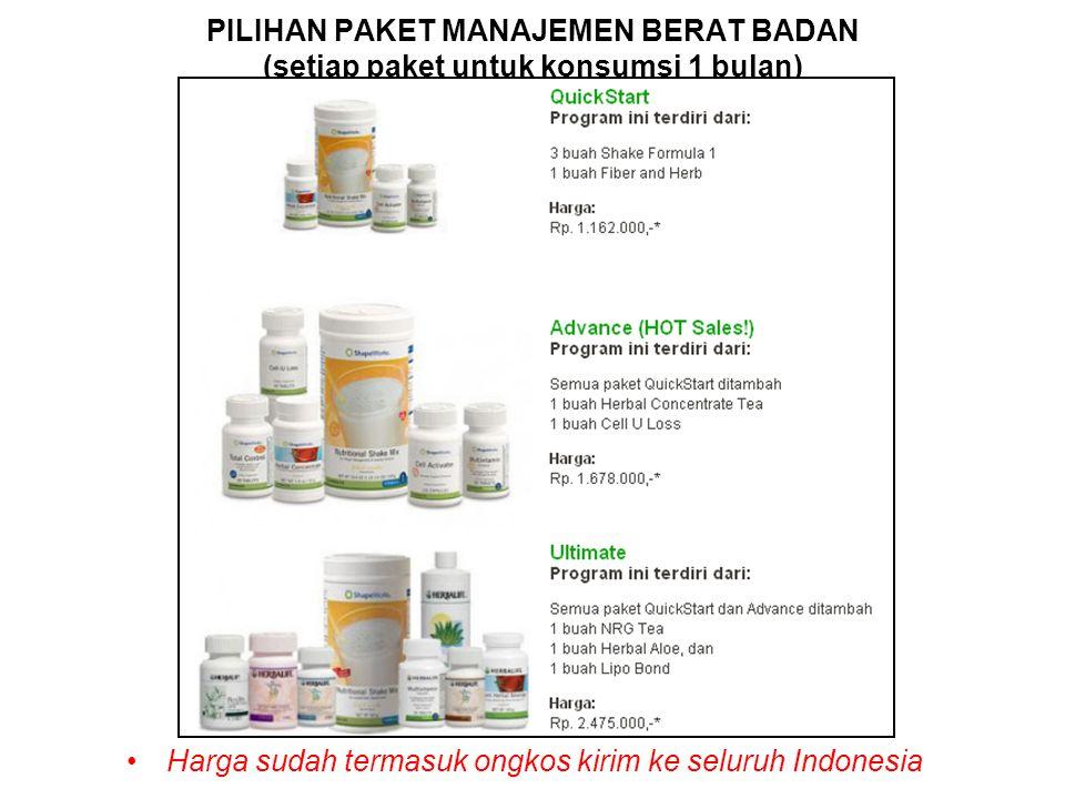 PILIHAN PAKET MANAJEMEN BERAT BADAN (setiap paket untuk konsumsi 1 bulan) Harga sudah termasuk ongkos kirim ke seluruh Indonesia