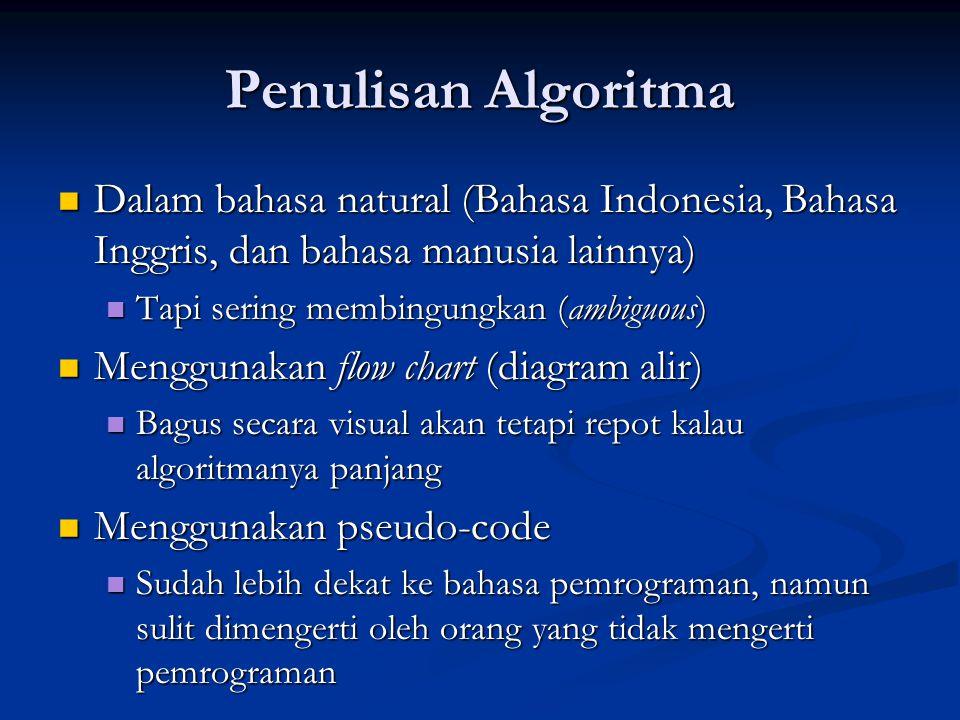 Penulisan Algoritma Dalam bahasa natural (Bahasa Indonesia, Bahasa Inggris, dan bahasa manusia lainnya) Dalam bahasa natural (Bahasa Indonesia, Bahasa